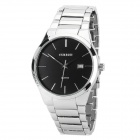 CURREN 8106 Glass Dial Stainless Steel Band Quartz Analog Wrist Watch for Men - Black + Silver