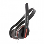 Somic EV-12 Stereo 3.5mm Double-Plug Back-Headset Headphone with Remote and Mic - Black + Red