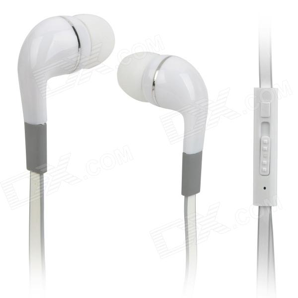 Hengjia AE41-IPH Plastic 3.5mm In-ear Earphone w/ Microphone for Iphone / Ipad / Ipod - White + Grey