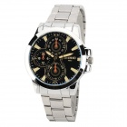 Fashion Round Dial Stainless Steel Band Quartz Wrist Watch for Men - Silver + Blue (1 x LR626)