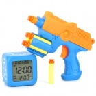 03 Cool Gun Shooting Target Alarm Clock - Blue + Orange (4 x AAA)