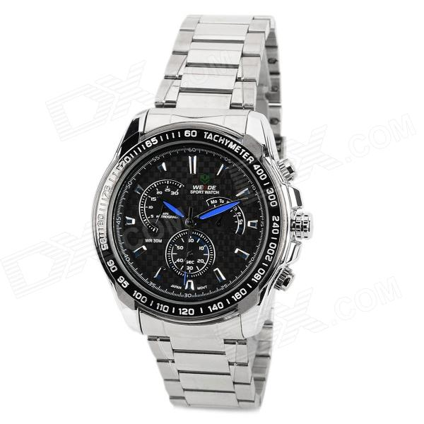 WEIDE WH-1111 Glass Dial Stainless Steel Band Men's Quartz Analog Wrist Watch - Black + Silver weide wh 2303 stylish stainless steel men s analog quartz wrist watch silver blue 1 x cr2016