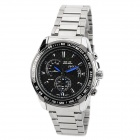 WEIDE WH-1111 Glass Dial Stainless Steel Band Men's Quartz Analog Wrist Watch - Black + Silver