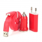 3-in-1 Car Cigarette Lighter Charger + EU Plug + 8Pin Data Cable for iPhone 5 / iPad 4 - Red + White
