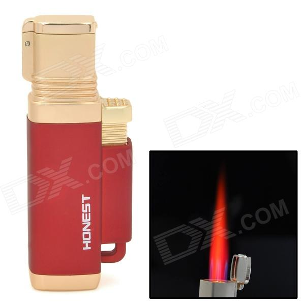 Honest 1# Stainless Steel Windproof Red Butane Jet Torch Lighter - Dark Red + Golden