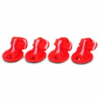 YC1303005Q Cute Walking Shoes for Pets Dogs - Black + Red (Size S / 4PCS)