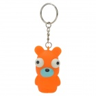 Pop-out Eyes Stress Reliever Squeeze Bear Doll Toy Keychain - Orange