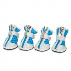 YC1303003Q Cute Grid Shape Walking Shoes for Pets Dogs - Blue + White + Black + Red (Size M / 4PCS)