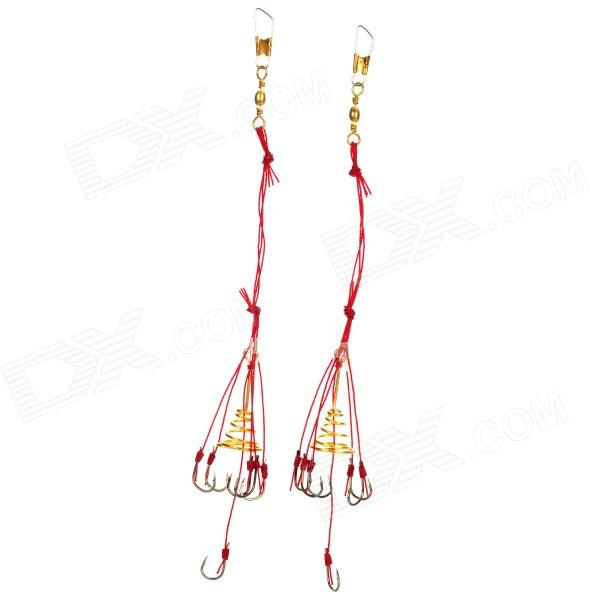 5-in-1 Anti-Winding Sharp Fishing Hooks - Golden + Red(2 PCS) genotoxic potential in fishes