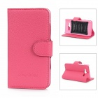 Protective PU Leather Flip Open Case for Xiaomi 2 - Deep Pink