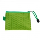 PVC + Cotton Zippered Documents File Holder Pocket / Bag w/ Strap - Green (3 PCS / Small-Size)
