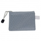 PVC + Cotton Zippered Documents File Holder Pocket / Bag w/ Strap - Grey (3 PCS / Small-Size)