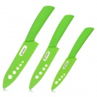 "TJC TJC-023 Stylish 3-in-1 4"" 5'' 6'' Zirconia Kitchen Ceramic Knife Set - Green + White + Grey"