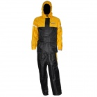 Tanked TRC15 Motorcycling Polyester Reflective Waterproof Rain Coat + Pants - Black + Yellow (L)