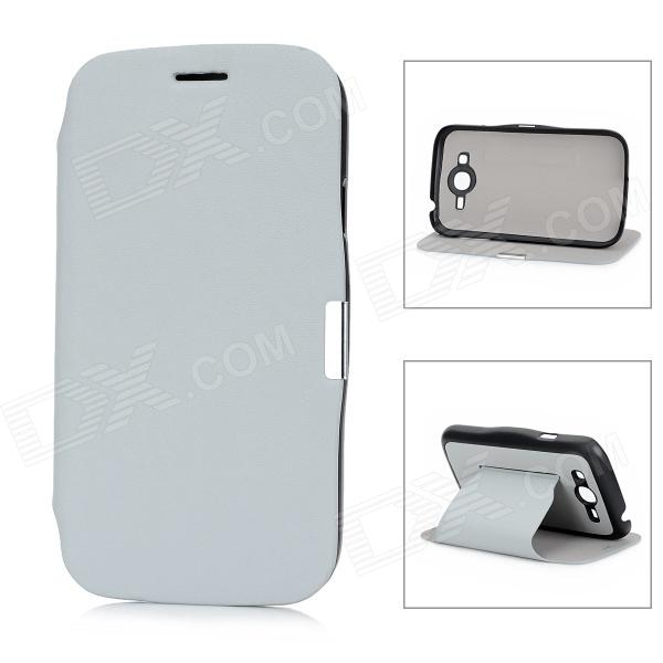 Protective PU Leather Flip Open Case for Samsung Galaxy I9082 - Grey