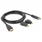 3-in-1 HDMI Male to HDMI Male Cable + HDMI Female to Micro HDMI / Mini HDMI Male Adapters - Black