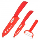 "TJC TJC-021 Stylish 3-in-1 4"" 6'' Zirconia Kitchen Ceramic Knife + Peeler Set - Red + White + Grey"