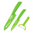 "Stylish 3-in-1 4"" 6'' Zirconia Kitchen Ceramic Knife + Peeler Set - Green + White + Grey"