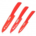 "TJC TJC-023 Stylish 3-in-1 4"" 5'' 6'' Zirconia Kitchen Ceramic Knife Set - Red + White"