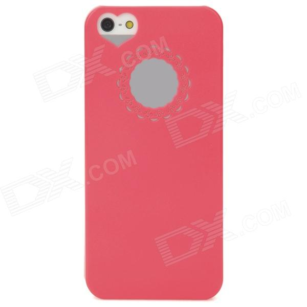 Lace Heart Style Protective Plastic Case for iPhone 5 - Deep Pink