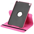 360 Degree Rotatable Protective PU Leather + ABS Case for Ipad MINI - Deep Pink