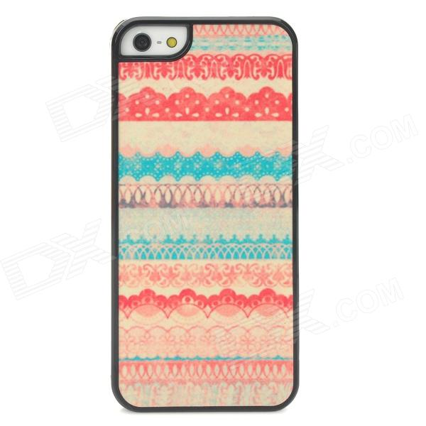 Lace Pattern Protective Matte Shimmering Powder Plastic Case for Iphone 5 - Red + Blue + White protective matte silicone case for iphone 5 5s dark blue white