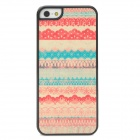 Lace Pattern Protective Matte Shimmering Powder Plastic Case for Iphone 5 - Red + Blue + White