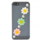 Flower Pattern Protective Plastic Case for Iphone 5 - Transparent