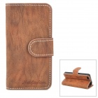 Tree Bark Pattern Protective PU Leder Flip-Open Case für iPhone 5 - Brown