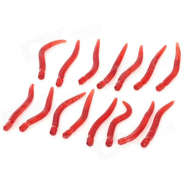 E4SX001 Silicone Lifelike Earthworm Shape Fishing Baits - Red (15 PCS)