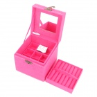 Elegant European Style Flannelette Three Layers  Jewelry / Cosmetic Storage Box- Deep Pink
