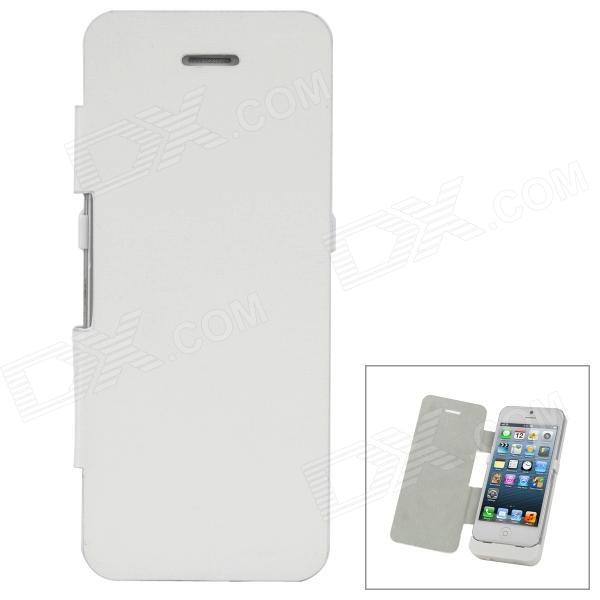 2-in-1 Rechargeable 2800mAh Battery Back Power Bank + PU Front Flip-Open Case for iPhone 5 - White