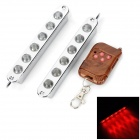 3W 98lm Blue / Red Light 12-LED 2-Mode Car Warning Lamp w/ Remote Controller (12V / 2 PCS)