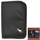Travel Canvas Zippered Certificate / Card / Passport Bag Holder - Black
