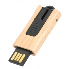 MUT-07 Push Wood Case USB 2.0 Flash Driver - Wood + Black (16GB)
