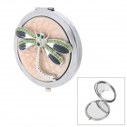 Dragonfly Stil Round Shaped Double Sided Makeup Cosmetic Mirror - Silber + Beige