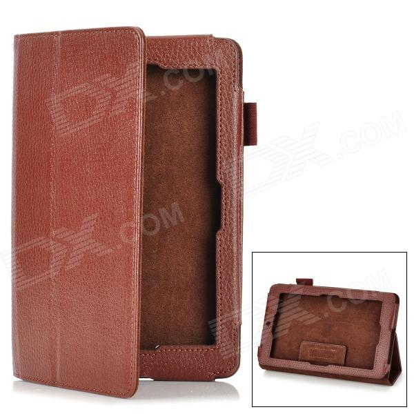 Lichee Pattern Protective PU Leather Flip-Open Case for Asus 172V - Brown