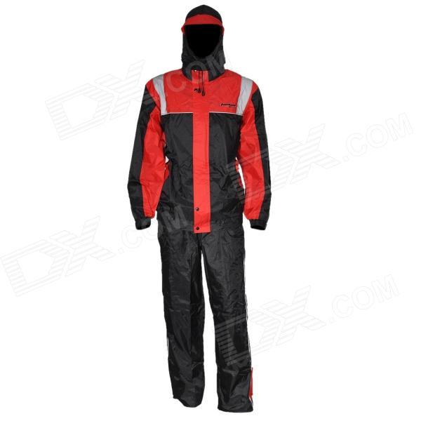 Tanked TRC20 Motorcycling Polyester Reflective Waterproof Rain Coat + Pants - Black + Red (Size XL)