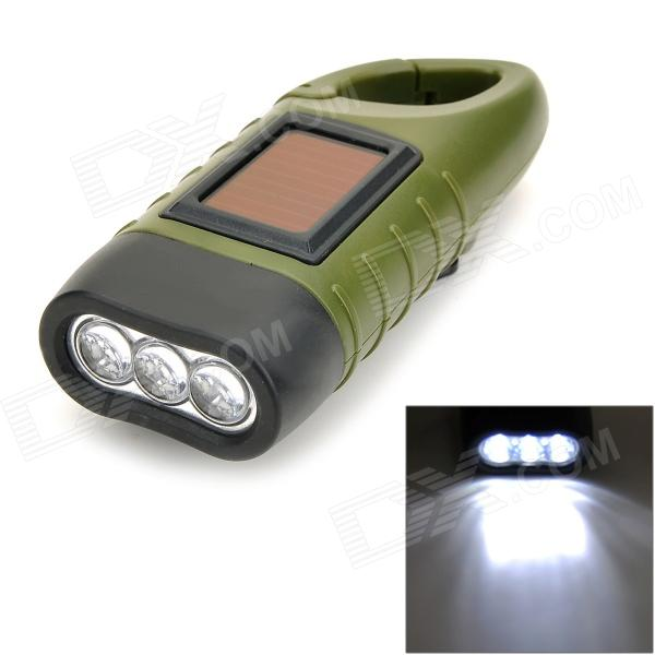 Solar Hand Cranked 6lm 3-LED White Flashlight w/ Quick Release Buckle - Army Green mini oxford fabric coin purse w quick release carabiner army green brown