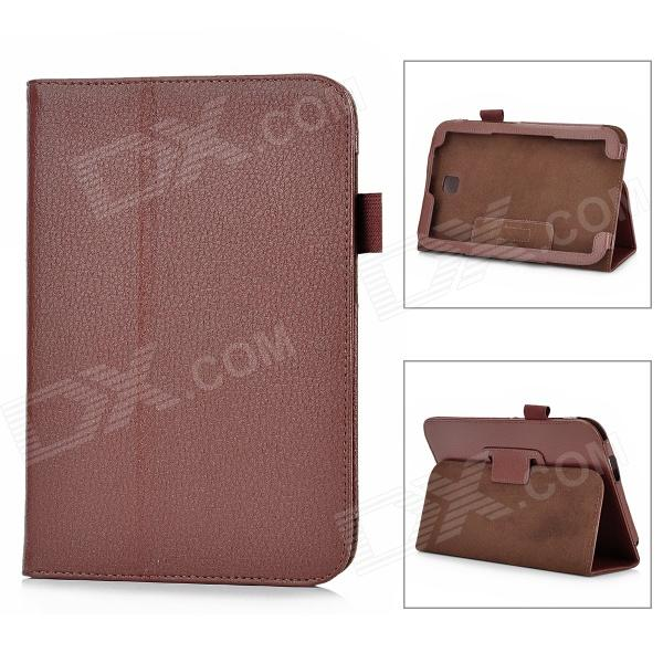 Lichee Pattern Protective PU Leather Case Stand for Samsung Galaxy Note 8.0 - Deep Brown silk style protective pu leather plastic case for iphone 4 4s deep pink