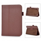 Lichee Pattern Protective PU Leather Case Stand for Samsung Galaxy Note 8.0 - Deep Brown