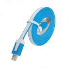8-Pin Lightning Male to USB 2.0 Male Flat Cable for iPhone 5 / iPad 4th - Blue + White (100cm)