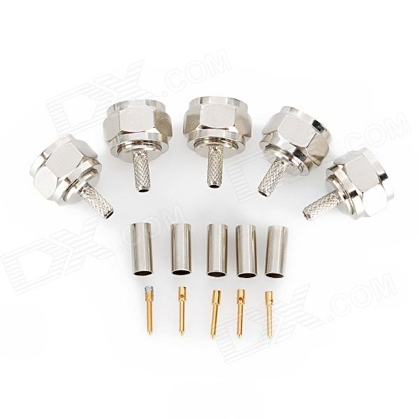 F-75J-C 75ohm Coaxial Female Connectors Plugs - Silver + Golden (5 PCS) 6089067 1 rf connectors coaxial connectors 8804 5004 94 mr li