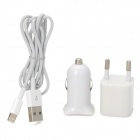 EU Plug Power Adapter + Car Charger + Lightning 8-Pin to USB Data Cable Set - White