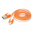 USB 2.0 Male to Lightning 8-Pin Flat Data Cable for iPhone 5 / iPad 4 - White + Orange (100cm)