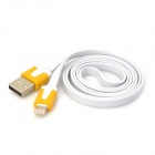 USB 2.0 Male Lightning 8-Pin Male Flach Datenkabel - Weiss + Gelb (100cm)