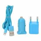 EU Plug Power Adapter + Car Charger + USB Male to Lightning 8-Pin Male Cable Set - Light Blue