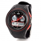 SKMEI 0957 Sport Mineral Dial Rubber Band Dual Electronic Digital + Analog-Armbanduhr - Schwarz