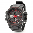 SKMEI 0990 Sport Mineral Dial Plastic Band Dual Electronic Digital + Analog Wrist Watch - Black