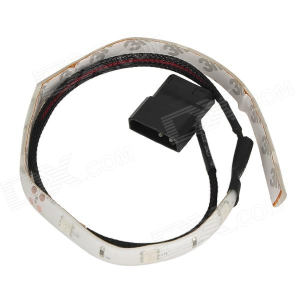 DIY Computer Red Light Decoration Strip w/ 3M Sticker + 4Pin Power Cable - Black + White (60cm)